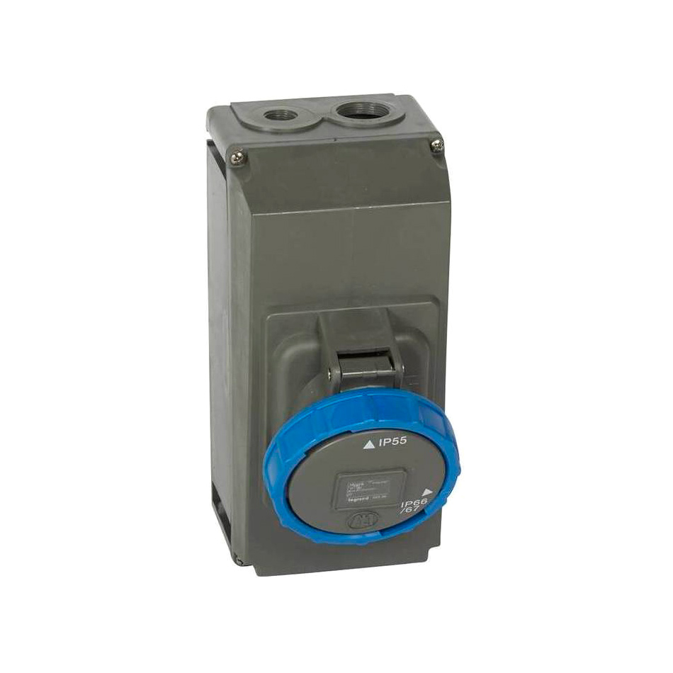 Розетка накладного монтажа в готовом корпусе Hypra - IP 66//67-55 - 2К+3 - 63 А - пластик