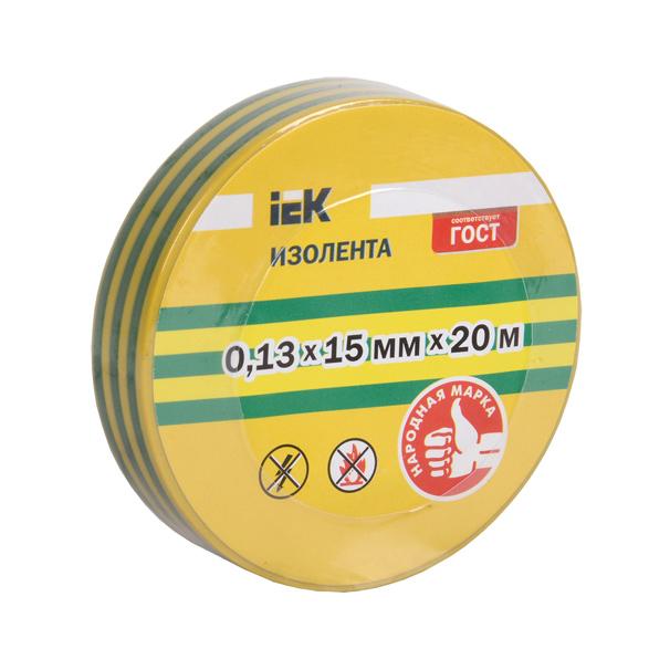 Изолента 0,13х15мм желто-зеленая 20м IEK