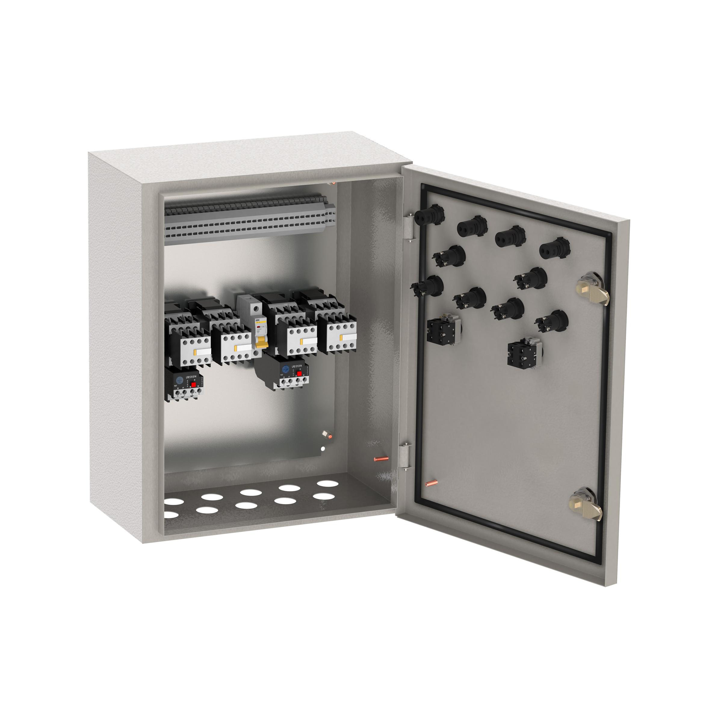 Ящик управления РУСМ5435-1874 реверсивный 2 фидера без автоматического выключателя без переключателя на автоматический режим 0,6А IP54 IEK