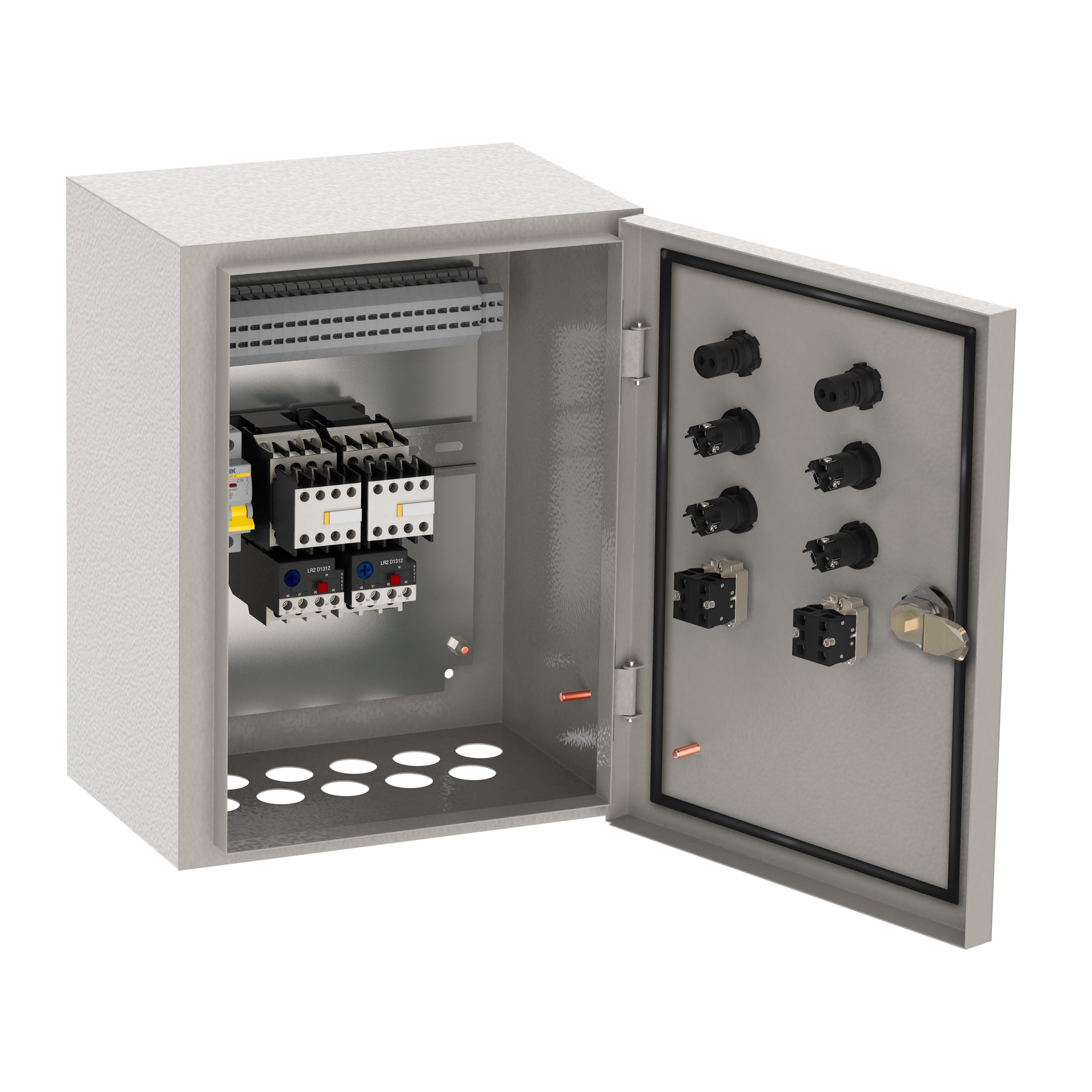 Ящик управления РУСМ5119-1874 нереверсивный 3 фидера автоматический выключатель на каждый фидер с переключателем на автоматический режим 0,6А IP54 IEK