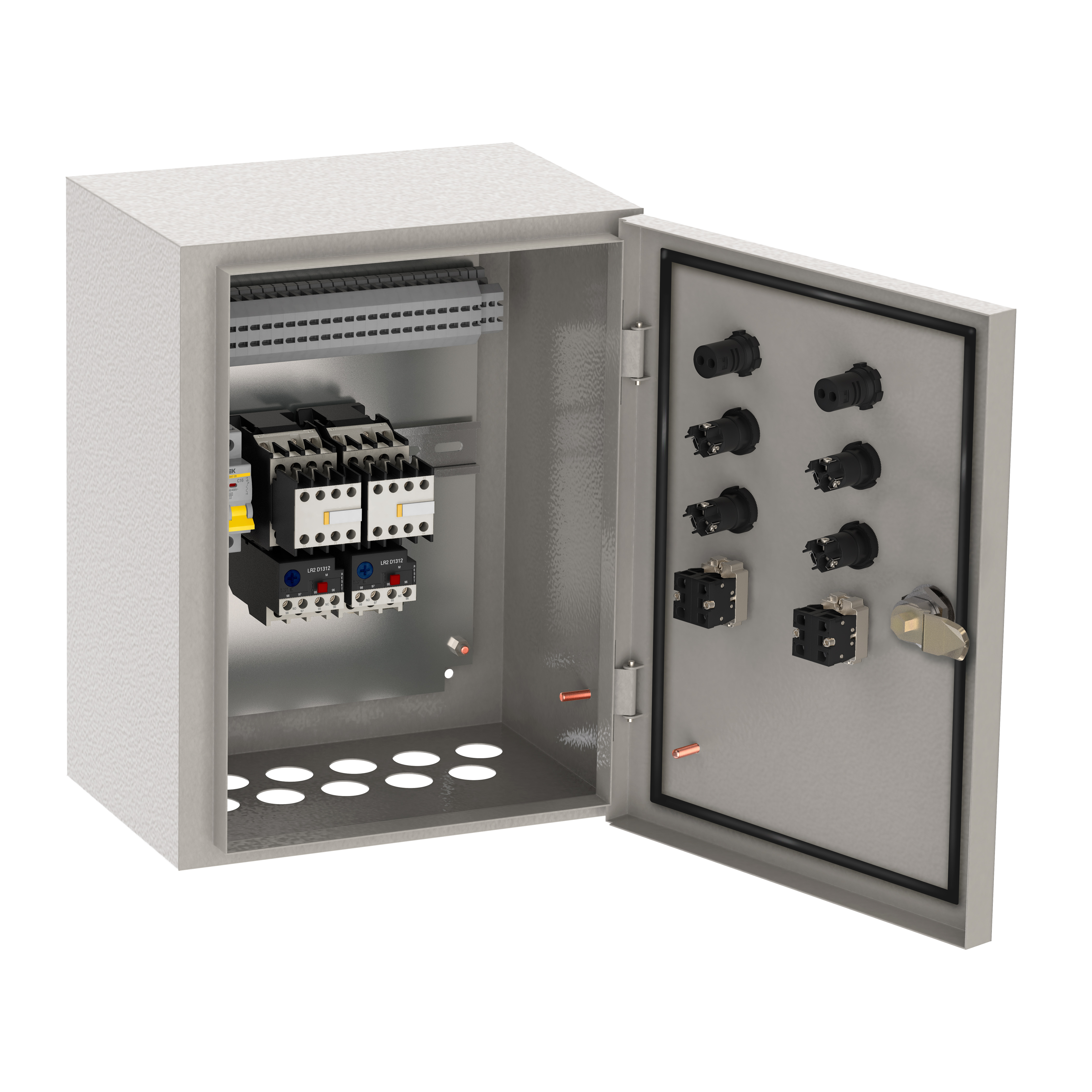 Ящик управления РУСМ5119-3274 нереверсивный 3 фидера автоматический выключатель на каждый фидер с переключателем на автоматический режим 16А IP54 IEK