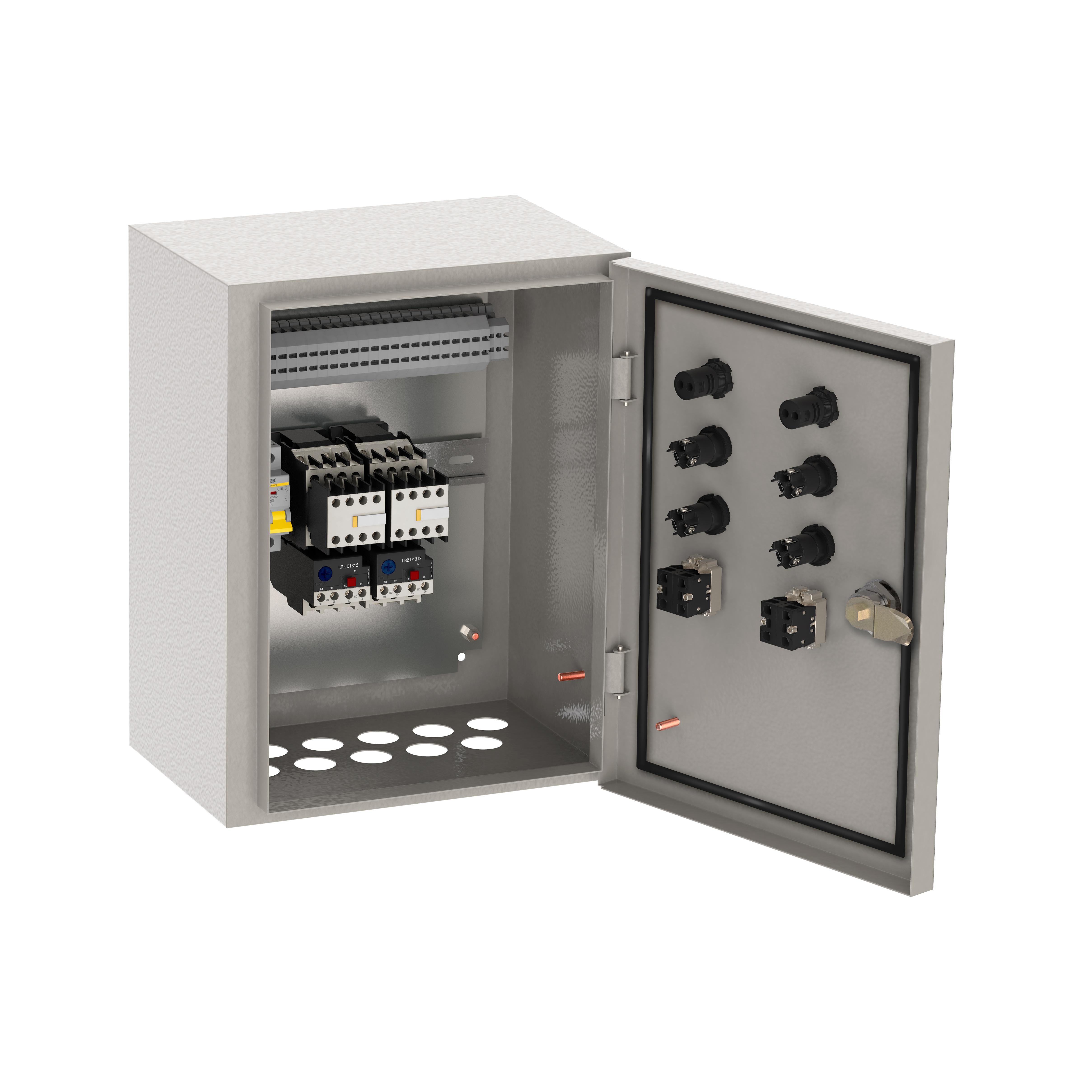 Ящик управления РУСМ5119-2874 нереверсивный 3 фидера автоматический выключатель на каждый фидер с переключателем на автоматический режим 6А IP54 IEK
