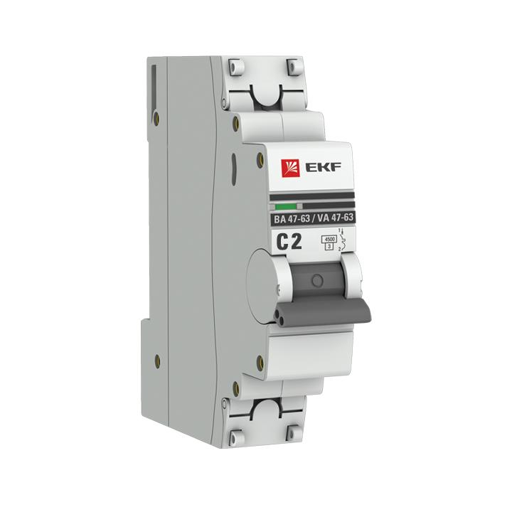 Автоматический выключатель 1P  2А (C) 4,5kA ВА 47-63 EKF PROxima