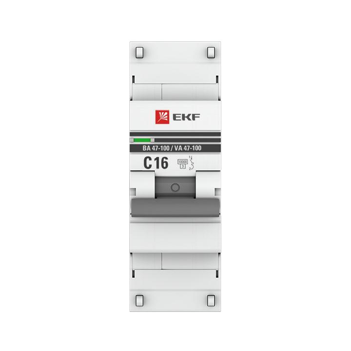 Автоматический выключатель 1P  16А (C) 10kA ВА 47-100 EKF PROxima