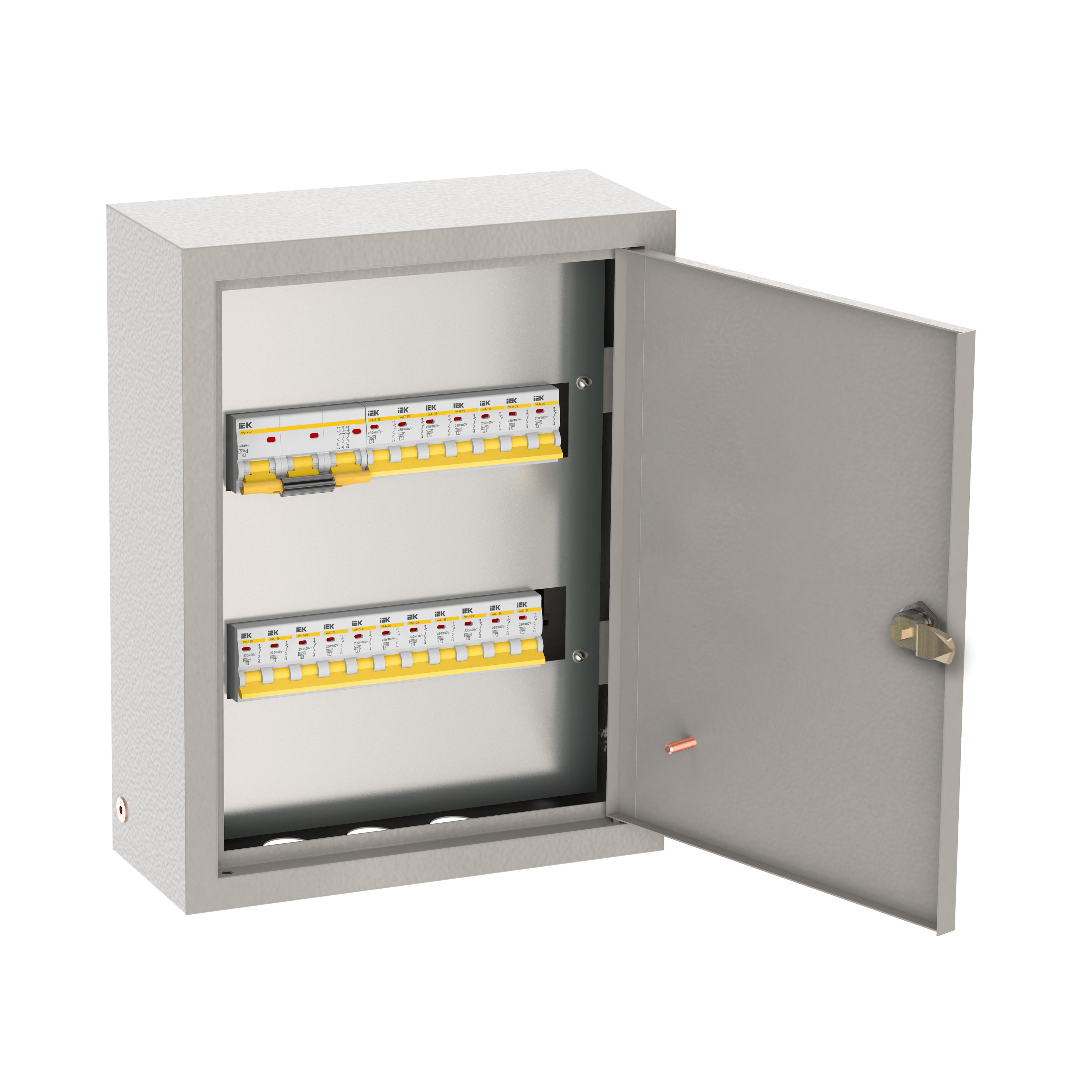 Щиток осветительный ОЩВ навесной с автоматическими выключателями 3p 1х100А 1p 6х25А IEK