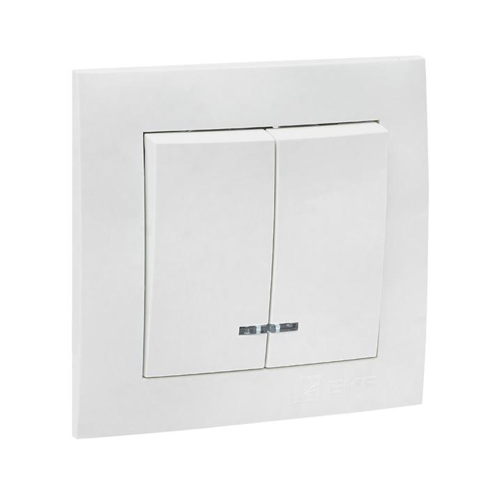 Валенсия выключатель 2-кл. 10А белый с индикатором EKF PROxima