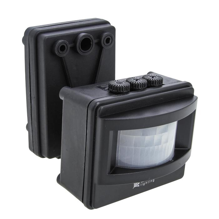 ИК датчик движения MS-01 черный на прожектор 1200Вт 120гр. до 12м IP44 EKF PROxima