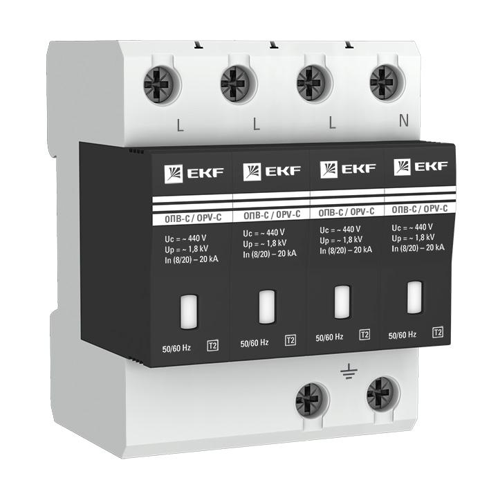 Ограничитель импульсных напряжений ОПВ-C/4P In 20кА 400В с сигн. EKF PROxima