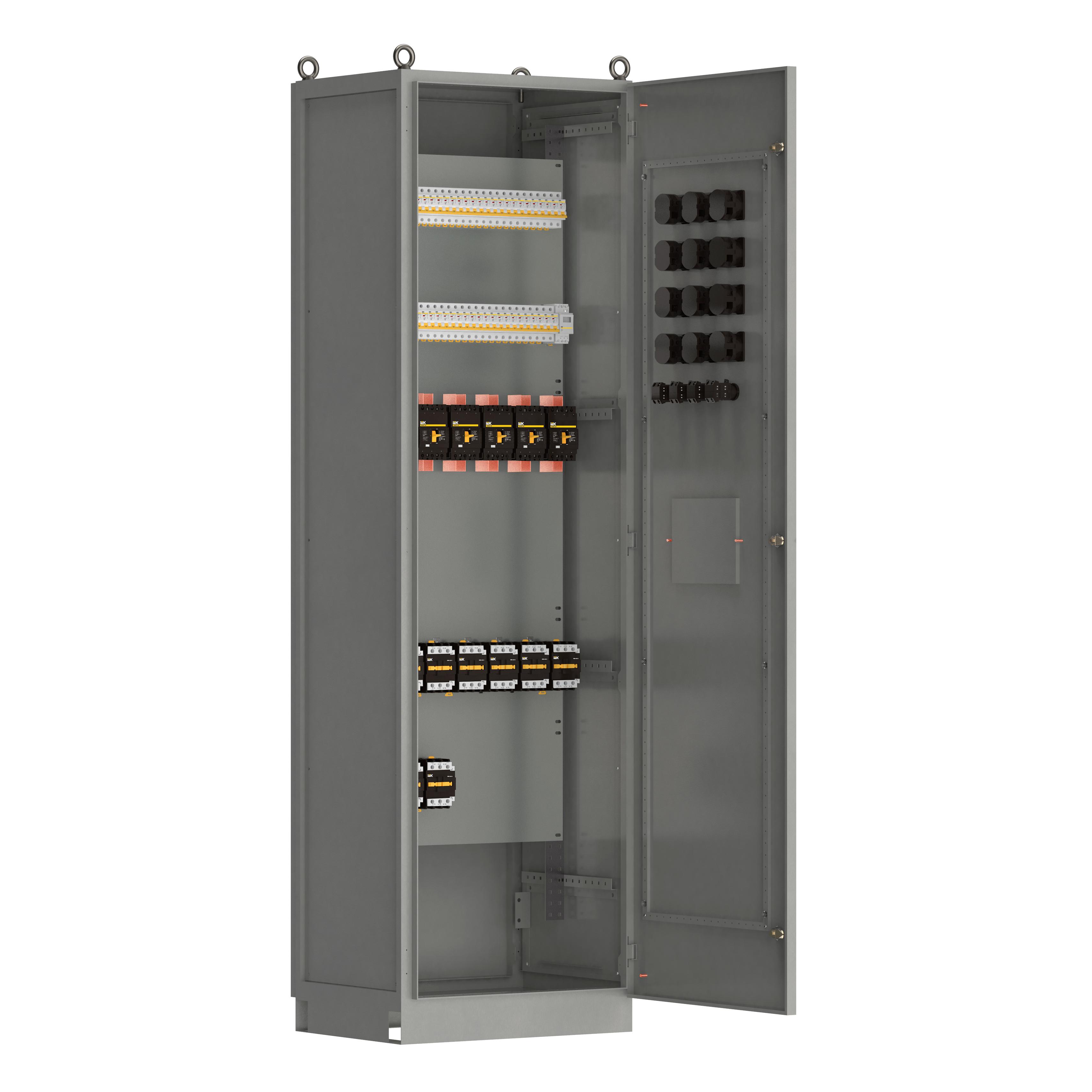 Панель распределительная ВРУ-8503 2Р-101-30 рубильник 1х250А выключатели автоматические 1Р 60х63А контакторы 10х65А IEK
