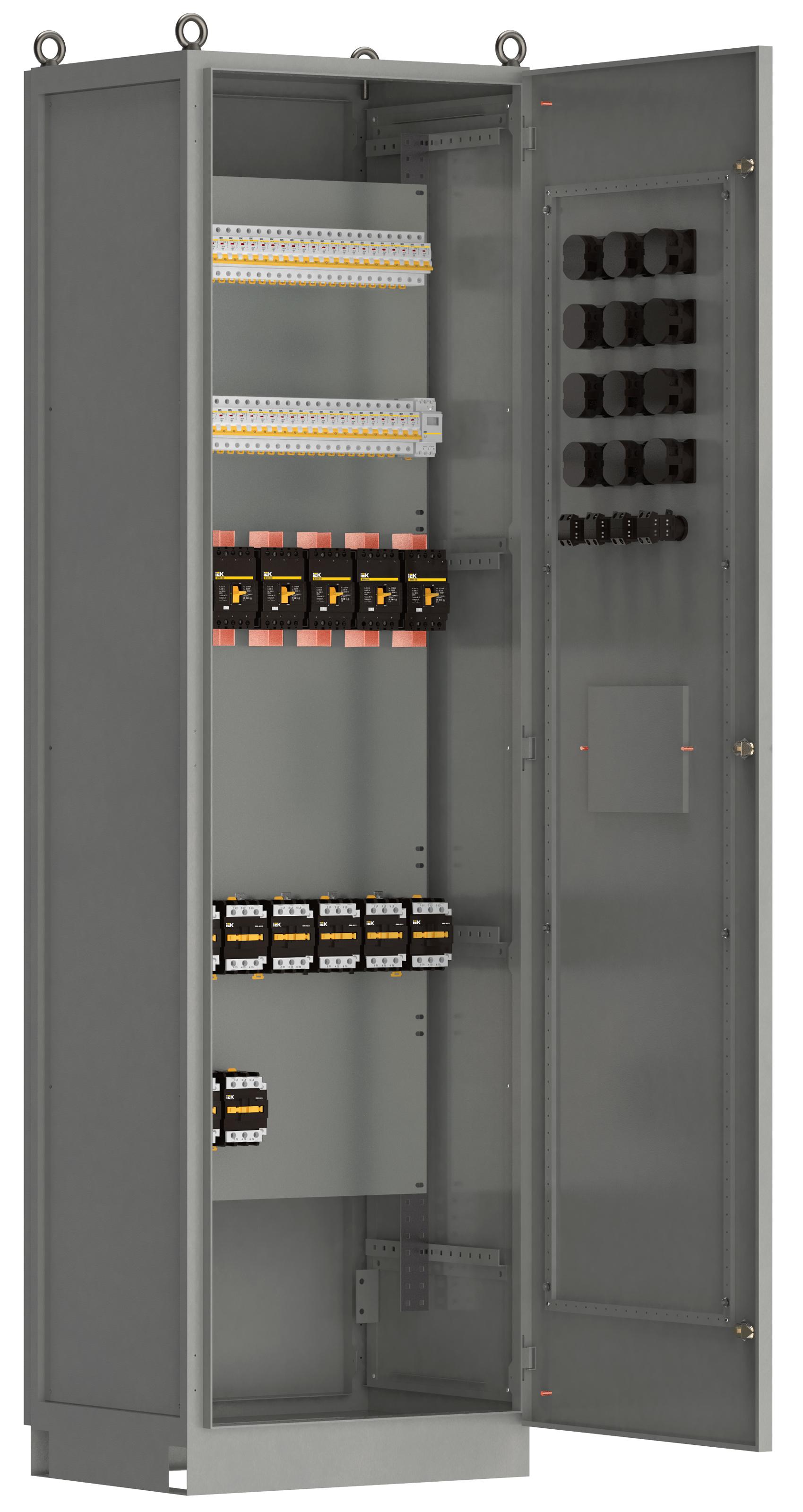 Панель распределительная ВРУ-8503 2Р-105-30 рубильник 1х250А выключатели автоматические 1Р 30х63А 3Р 4х63А контакторы 5х65А IEK