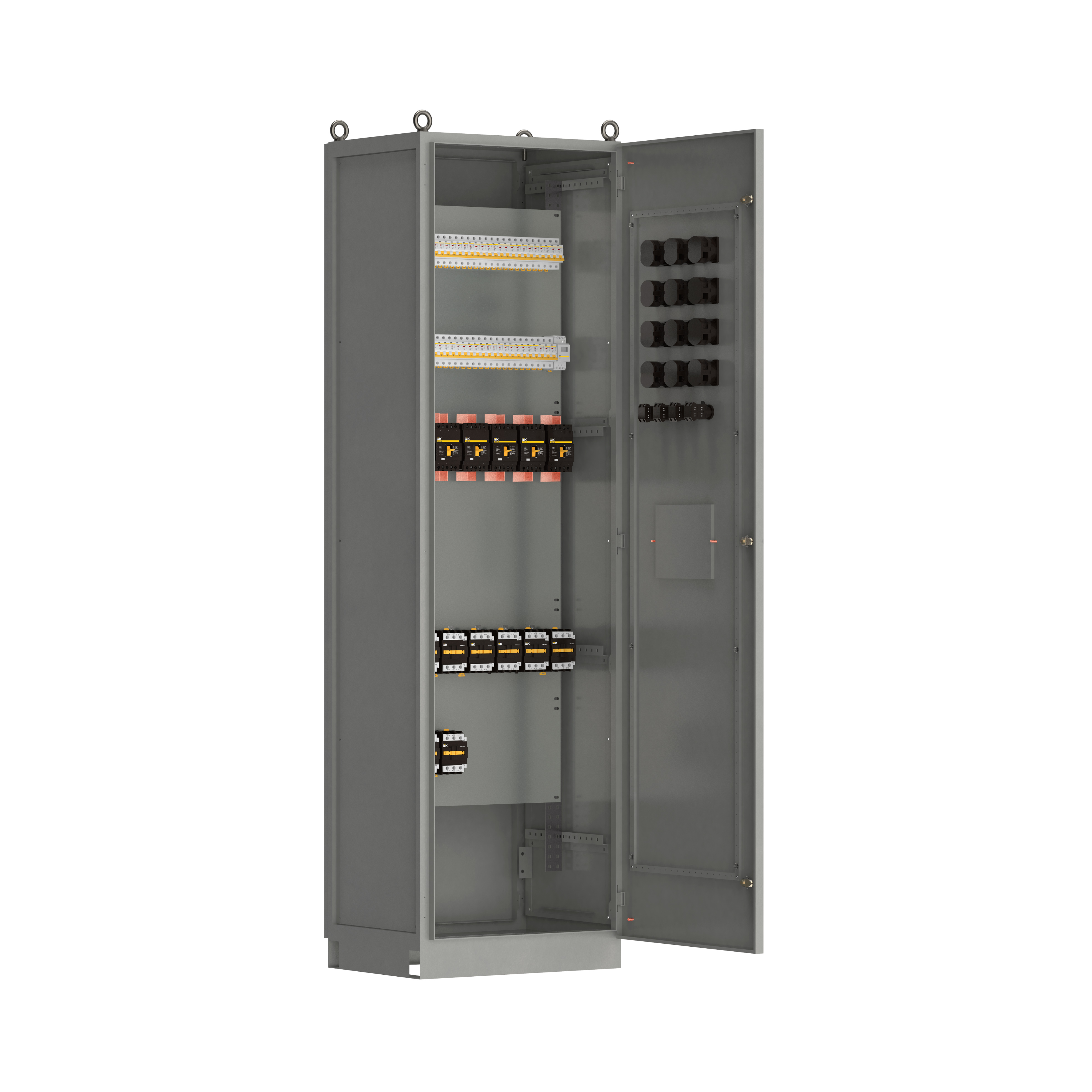 Панель распределительная ВРУ-8505 4Р-104-30 выключатели автоматические 3Р 4х125А 1Р 38х63А контакторы 5х65А IEK