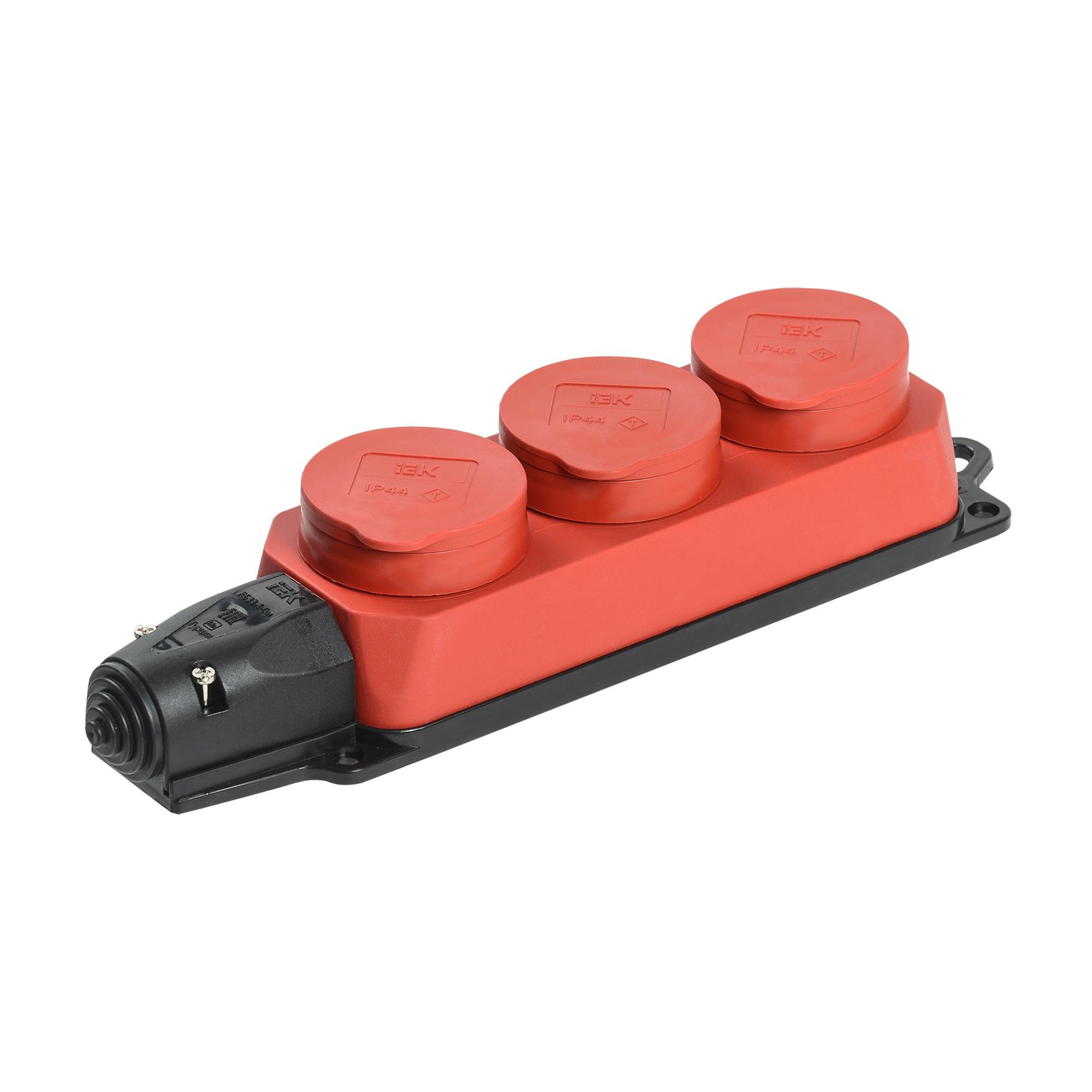 Розетка (колодка) 3-местная РБ33-1-0м с защитными крышками IP44 ОМЕГА красная IEK
