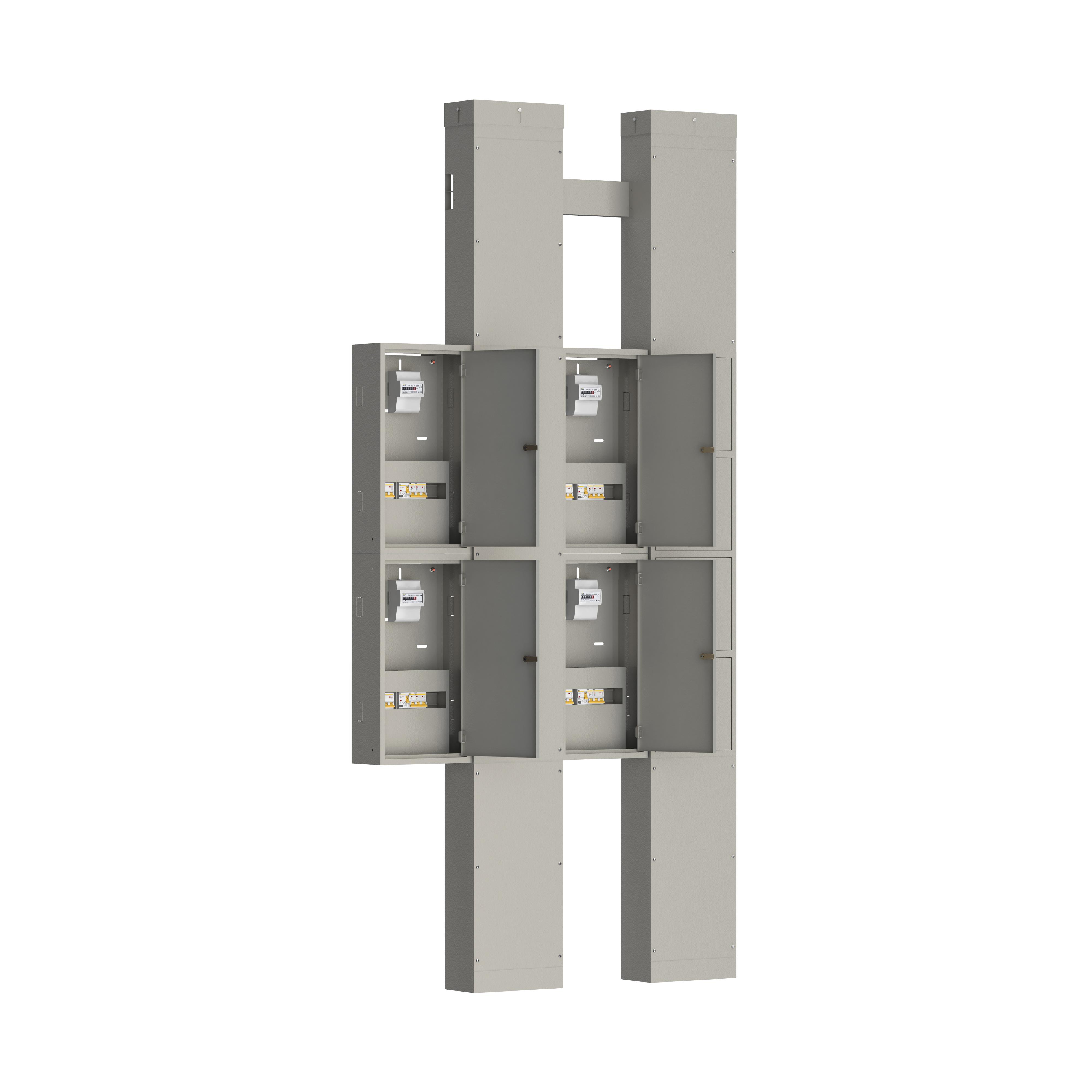 Устройство этажное распределительное УЭРМ-41 на четыре квартиры с однофазным вводом с характеристикой D в каждую квартиру IEK